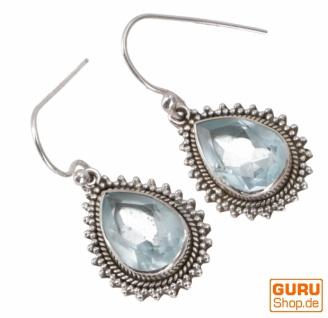 Indische Boho Silberohrringe, tropfenförmige Ohrhänger - Aquamarin