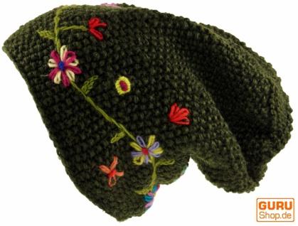 Wollbeanie Blumenstickerei, mit Blumenstickerei, Wollbeanie Nepalmütze - dark olive 8dfe08
