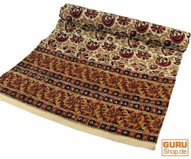 Blockdruck Tagesdecke, Bett & Sofaüberwurf, handgearbeiteter Wandbehang, Wandtuch - braun Ornament 3