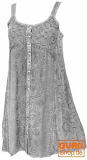 Besticktes indisches Kleid, Boho Minikleid - grau/Design 23