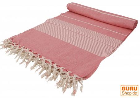Weiche gewebte double Tagesdecke `Kerala` aus Baumwolle mit Fransen - rot