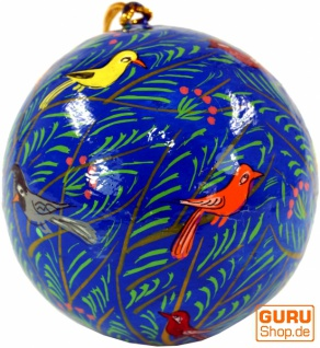 Upcyceling Weihnachtskugel aus Pappmachee, Handbemalter Christbaumschmuck, Kaschmirkugeln - Muster 24