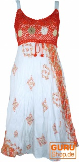 Boho Minikleid, Sommerkleid, Krinkelkleid - weiß/orange