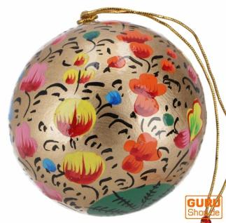 Upcyceling Weihnachtskugel aus Pappmachee, Handbemalter Christbaumschmuck, Kaschmirkugeln - Muster 18
