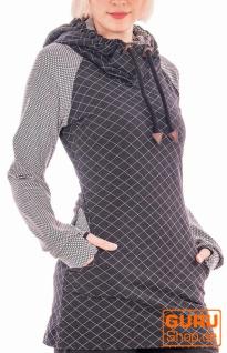Langärmlige Tunika mit Kapuze aus Bio-Baumwolle / Chapati Design - black diamond