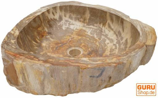 Massives Fossiles Holz Aufsatz-Waschbecken, Waschschale, Naturstein Handwaschbecken - Modell 28