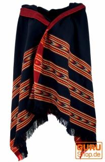 Indischer Schal / Stola, Ethno Tuch/Decke - schwarz