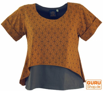 "Yoga-T-Shirt, Yoga Lagen-Shirt "" Blume des Lebens"" - caramel"