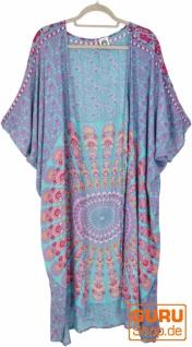 Leichter Sommer Kimono, Umhang, Strandkleid mit Mandala Muster - türkis/pink