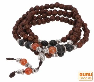 Japa Mala, tibetische Rudraksha Gebetskette, buddhistische Mala Halskette - Karneol
