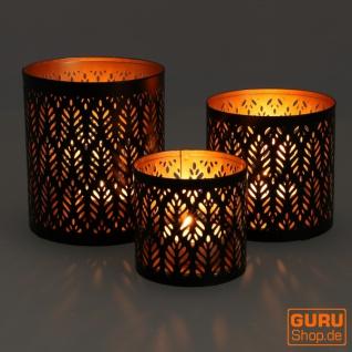 Filigranes orientalisches Metall Windlicht, Teelicht Leuchte mit fein gefrästem Design - Motiv 5