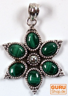 Ethno Blüten Silberanhänge, Indischer Boho Kettenanhänger - Malachit