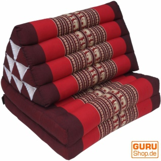 Thaikissen, Dreieckskissen, Kapok, Tagesbett mit 2 Auflagen - braun/rot