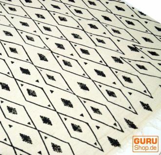 Hangewebter Blockdruck Teppich aus natur Baumwolle mit traditionellem Design - weiß/schwarz Muster 16