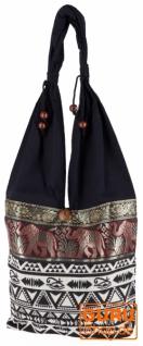 Sadhu Bag, Ethno Schulterbeutel, Hippie Tasche aus Thailand - schwarz/ikat