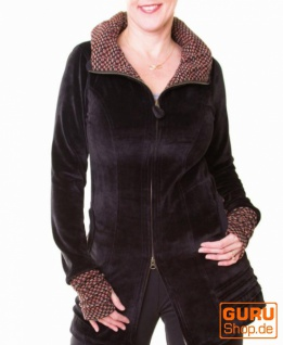 Kurzmantel mit Kapuze aus Bio-Baumwolle / Chapati Design - black