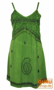 Besticktes indisches Kleid, Boho Minikleid - grün Design 1