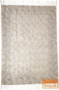 Handgewebter Blockdruck Teppich aus natur Baumwolle mit traditionellem Design - Muster 17