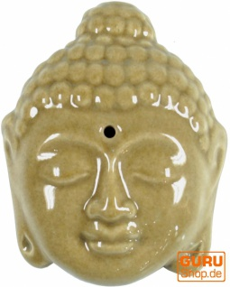 Räucherstäbchenhalter aus Keramik Buddhakopf beige - Modell 12