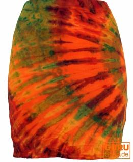 Batikrock, Hippie Batik Minirock, Yogarock, Yogarock- orange