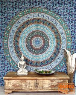 Indisches Mandala Tuch, Wandtuch, Tagesdecke Mandala Druck - blau/grün