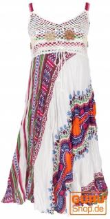Boho Minikleid, Sommerkleid, Krinkelkleid - weiß/flieder