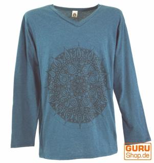 Langarmshirt Mandala, Goa Shirt - petrol