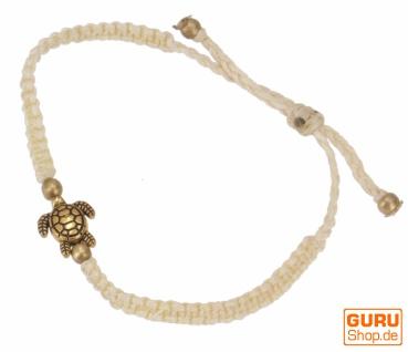 Ethno Schildkröten Perlenarmband, Makramee Armband - creme