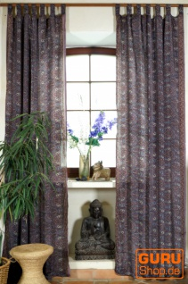 Seidige Boho Vorhänge, 1 Paar Bohemia Gardine aus Sareestoff, Unikat - violett