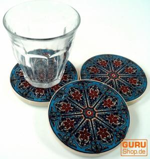 Orientalischer Keramikuntersetzer, runder Untersetzer für Gläser und Tassen mit Mandala Motiv Set - Muster 11