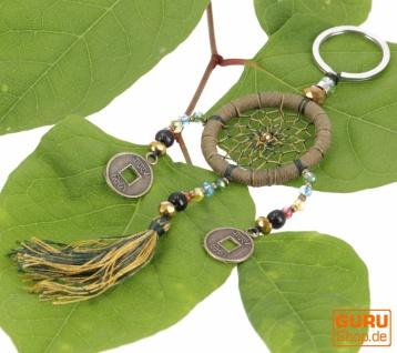 Schlüsselanhänger, Taschenanhänger Traumfänger - olive