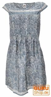 Minikleid Boho Style, schlichtes Sommerkleid - Paisley taubenblau