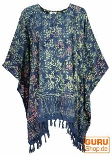 Poncho, Tunika, Strandkleid , Batik Kaftanf, Damen Übergröße - blau