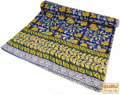 Blockdruck Tagesdecke, Bett & Sofaüberwurf, handgearbeiteter Wandbehang, Wandtuch - blau/gelb Blumen