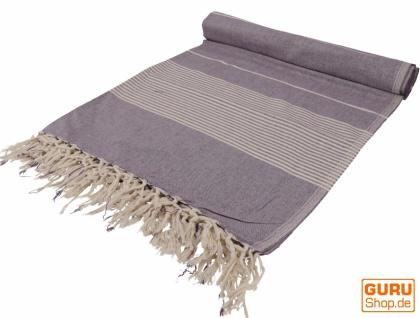 Weiche gewebte double Tagesdecke `Kerala` aus Baumwolle mit Fransen - violett