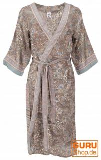 Kimonokleid, seidig glänzender Boho Kimono, 3/4 Kimonomantel - beige/aqua