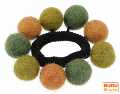 Haargummi `Filzkugel` - grün