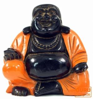 Geschnitzter Lucky Buddha, Holzbuddha - orange