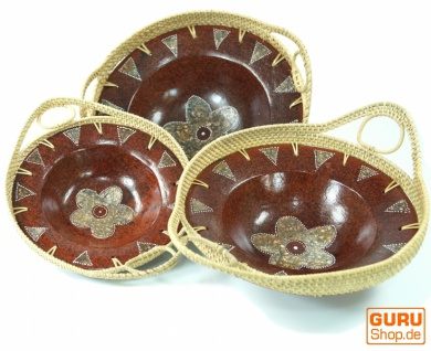 Runde umflochtene Keramikschale, Obstschale, Dekoschale - Design 4