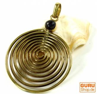 Amulett Lebensspirale, Kettenanhänger aus Messing - Labradorit