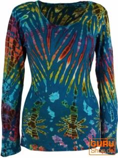 Batik Shirt, Langarmshirt - blau