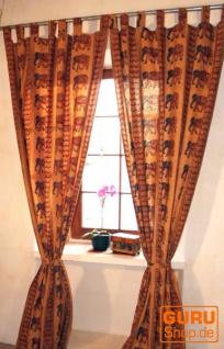 Boho Vorhänge, Gardine (1 Paar ) mit Schlaufen, handbedruckter ethno Style Vorhang - Elefant / gelb