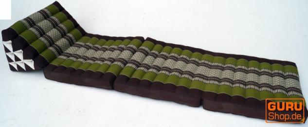 Thaikissen, Dreieckskissen, Kapok, Tagesbett mit 3 Auflagen - braun/grün - Vorschau 2