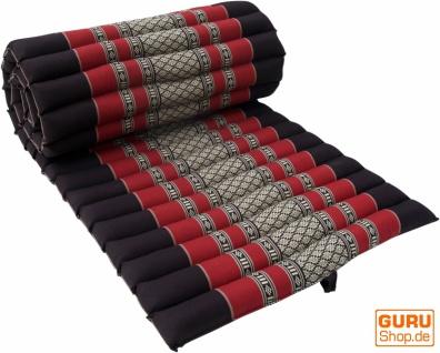 Rollbare Thaimatte mit Kapokfüllung schwarz-rot