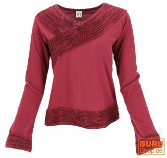 Langarmshirt Boho-chic, Hare Krishna Mantra Shirt - bordeauxrot