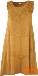 Besticktes Boho Sommerkleid, Midikleid, indisches Hippie Kleid in 7/8 Länge, mustard - Design 6