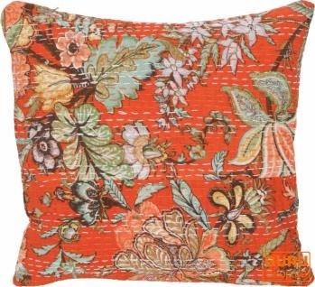 Kissenhülle, Kissenbezug mit Ethno Muster `Paradies` - orange