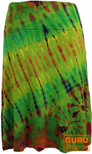 Batik Hippie Midirock, Sommerrock, knielang - grün/bunt