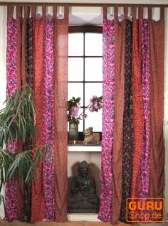 Boho Patchwork Vorhänge, 1 Paar Bohemia Gardine aus Sareestoff, Unika - pink/rot
