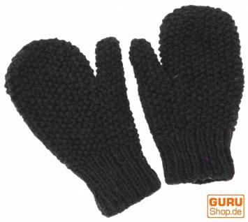 Handgestrickte Fausthandschuhe, Wollhandschuhe, Handschuhe, Fauster - schwarz